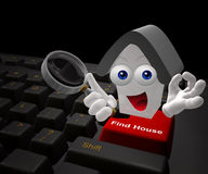 Find house on the internet icon symbol. Find house on the internet keyboard symbol 3d render Royalty Free Stock Photos