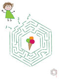 Find the Ice-cream Kids Maze. A funny maze for kids, help the child reach the ice-cream Stock Image
