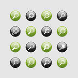 Find icon set. For internet. Magnifying glass Stock Photo