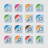 Find icon set. For internet. Magnifying glass Stock Photos