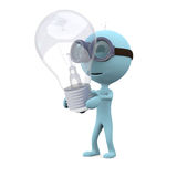 Find the idea. Blue man in glasses stands and keep the llightbulb on white background Stock Images