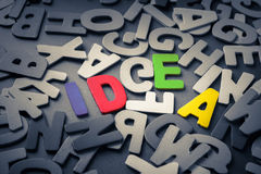 Find Idea. Idea word hide in scattered wood letter Stock Photography