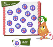Find 2 identical buttons. Visual Game for children. Task: Find 2 identical buttons Stock Photos