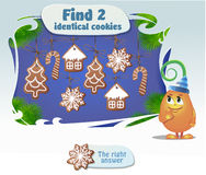 Find 2 identical cookies. Visual Game for children. Task: Find 2 identical cookies Royalty Free Stock Images