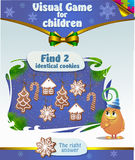 Find 2 identical  cookies. Visual Game for children. Task: Find 2 identical  cookies Royalty Free Stock Photo