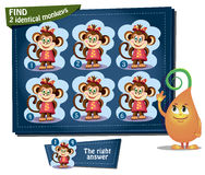 Find 2 identical monkeys girl. Visual Game for children. Task: find 2 identical monkeys Royalty Free Stock Images
