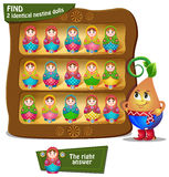 Find 2 identical nesting dolls. Visual Game for children. Find 2 identical nesting dolls Royalty Free Stock Images