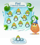 Find 2 identical penguin. Visual Game for children. Task: Find 2 identical penguin Royalty Free Stock Photos