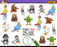 Find identical pictures activity. Cartoon Illustration of Find Two Identical Pictures Educational Activity for Children Stock Photography