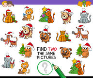 Find identical pictures activity with Xmas pets Stock Image