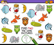Find identical pictures game. Cartoon Illustration of Finding Two Identical Pictures Educational Game for Children Stock Photos