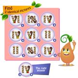Find 2 identical pictures  sweets, numbers. Visual game for children and adults. Task the find 2 identical pictures Royalty Free Stock Photos