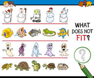 Find improper picture activity. Cartoon Illustration of Finding Improper Image in the Row Educational Activity for Children Stock Images