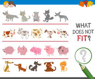 Find improper picture in row. Cartoon Illustration of Finding Picture that does not Fit in a Row Educational Activity for Preschool Children Stock Photo