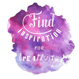 Find inspiration for creativity. Hand drawn lettering. Poster and t-shirt design. Vector illustration. Bright aquarelle Royalty Free Stock Images
