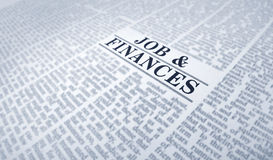 Find a job. Finding a job on a newspaper. searching interview information Stock Images