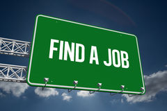 Find a job against sky. The word find a job and green billboard sign against sky Royalty Free Stock Photography