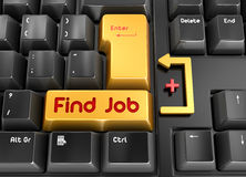 Find Job button. This is a computer generated and 3d rendered picture Royalty Free Stock Photography