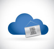 Find a job in cloud illustration design. Over a white background Royalty Free Stock Images