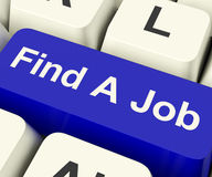 Find A Job Computer Key Showing Work And Careers Search Online Royalty Free Stock Photo