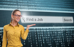 Find a job concept. Woman showing Find a job concept royalty free stock photos