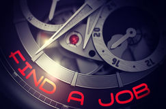 Find A Job on Elegant Wristwatch Mechanism. 3D. Automatic Men Wrist Watch with Find A Job on Face, Symbol of Time. Elegant Wristwatch with Find A Job Royalty Free Stock Photo