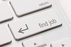 Find job enter button. Key on white keyboard Stock Photography