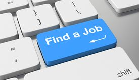 Find a job. Text written on keyboard button Royalty Free Stock Image
