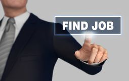 Find job   pushing concept 3d illustration. Find job      with finger pushing concept 3d illustration Stock Photography