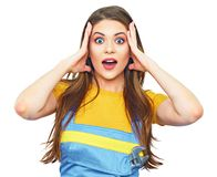 Find job. Hard worker style portrait of surprised woman. Female model with long hair Royalty Free Stock Images