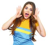 Find job. Hard worker style portrait of surprised woman. Female model with long hair Royalty Free Stock Photos