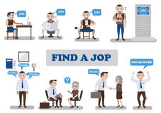 Find a Job. New job search and business man infographic.Vector illustration Stock Image