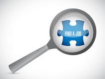Find a job puzzle piece under magnify. Illustration design graphic Stock Photos
