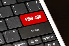 Find job on Red Enter Button on black keyboard.  Royalty Free Stock Image