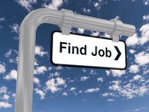 "Find job sign. Black and white sign with the words ""Find Job"" and an arrow Stock Photo"