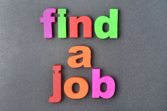 Find a job words on background. Find a job words on gray background Stock Image