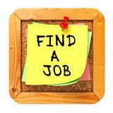 Find a Job. Yellow Sticker on Bulletin. Stock Images