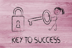 Find the key to success, funny girl character being successful Stock Image