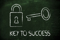 Find the key to success, key and lock design Royalty Free Stock Photos