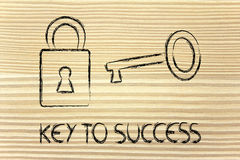 Find the key to success, key and lock design Royalty Free Stock Image