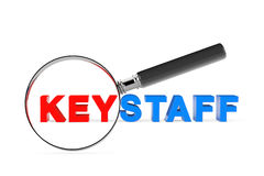 Find Keystaff Concept. Magnification Glass with Keystaff Sign. 3. Find KeystaffConcept. Magnification Glass with Keystaff Sign on a white background. 3d Royalty Free Stock Photos