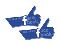 Find and Like Us On Facebook Strong Thumb Icon. Thumbs up is one of a symbolic feature of Facebook Stock Photography