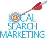 Find Local Search Targeted Marketing. Arrow find Local Search website marketing target Stock Images
