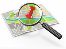 Find location. Loupe and thumbtack on map Royalty Free Stock Photography