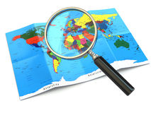 Find locations. Loupe and mapof the world. 3d Royalty Free Stock Photography