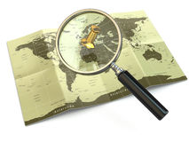 Find locations. Loupe and mapof the world. 3d Royalty Free Stock Photos