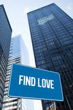Find love against low angle view of skyscrapers Royalty Free Stock Photos