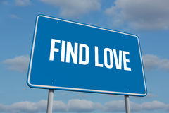 Find love against sky. The word find love and blue billboard against sky Royalty Free Stock Images