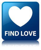 Find love blue square button. Find love isolated on blue square button reflected abstract illustration Royalty Free Stock Photography