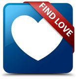 Find love blue square button red ribbon in corner. Find love isolated on blue square button with red ribbon in corner abstract illustration Royalty Free Stock Photography